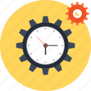 management, gear, clock, schedule, time, settings, cogwheel