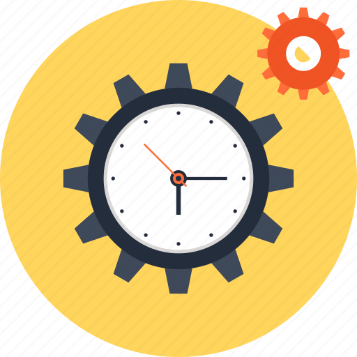 clock, cogwheel, gear, management, schedule, settings, time icon