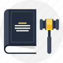 book, gavel, government, hammer, justice, law, legal icon