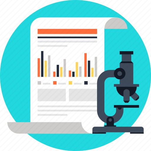 analysis, chart, document, microscope, report, research, statistics icon