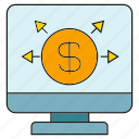 computer, desktop, dollar, money icon