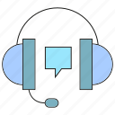 call center, gadget, headphone, listen icon