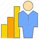 bar chart, chart, graph, people, profit icon