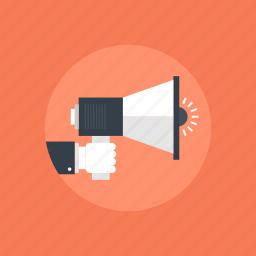 advertising, announcement, attention, audio, bullhorn, business, communication, digital, finance, loudspeaker, marketing, media, megaphone, message, news, promotion, sound, speaker, volume icon