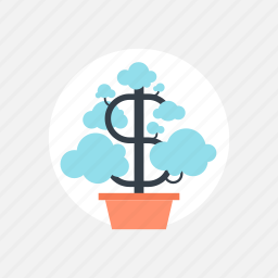 business, dollar, ecology, expand, finance, flower, growing, growth, investment, money, nature, plant, success, tree icon
