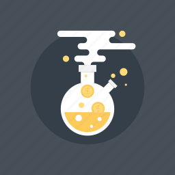 alchemy, bottle, business, cash, chemistry, coin, currency, experiment, finance, flask, income, investment, laboratory, make, market, marketing, money, potion, research, science, test icon