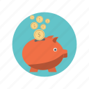 bank, cash, dollar, finance, piggy icon