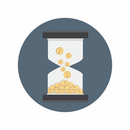 coin, currency, money, time, watch icon