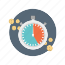 coin, finance, marketing, money, time icon