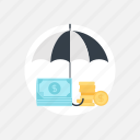 umbrella, finance, business, money, support, safe, cash, rain, insurance, currency, protection, safety, security, investment, shield