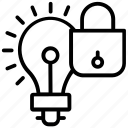 confidential idea, idea care, idea locked, idea protection, idea security icon