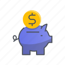 bank, dollar, finance, money, piggy icon