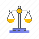 balance, justice, measure, measuring, scale icon