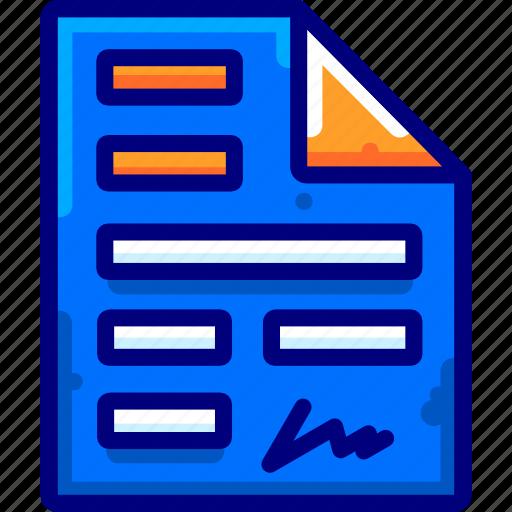 agreement, bukeicon, document, finance, pen icon