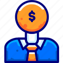 business, finance, man, moneybukeiconcoinhead icon