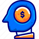 bukeicon, coin, dollar, head, investment, mind, money