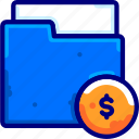 bukeiconbusiness, dollar, file, finance, folder icon