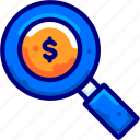 bukeicon, glass, income, magnifying, money, search, sought icon