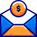 bukeicon, business, dollar, envelope, finance, money, transfer