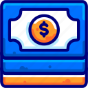 bukeicon, dollars, finance, paper, piles icon