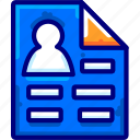 bukeicon, cv, data, document, finance, personal, resume icon