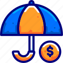bukeicon, finance, insurance, money, protection, rain, umbrella icon