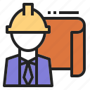 architect, engineer, industry, plan, safty icon