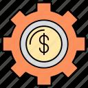 business, cog, cogwheel, economy, finance management, finance settings, money icon