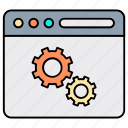 bar statistics, business, content marketing, gear, management, settings icon