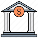bank interest, bank loan, building, business, debt, finance, microloan icon