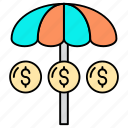 business, finance security, investment, management, protection, umbrella icon