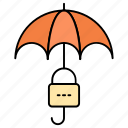 business, insurance, marketing, safety, umbrella, under protection icon