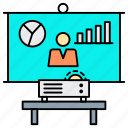 analytics, business, conference, graph, marketing, meeting, statistics icon