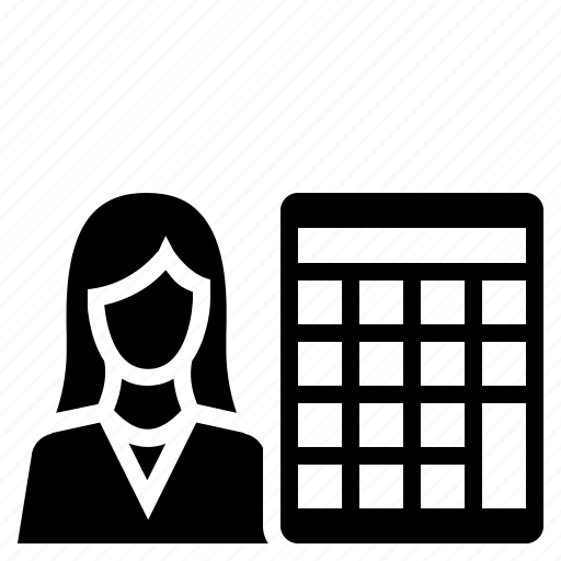 accountant, accounting, business, businesswoman, calculator, finance icon