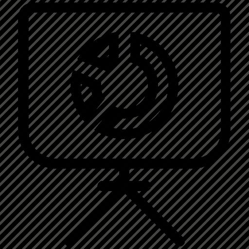 blackboard, chart, diagram, pie, presentation, statistics icon