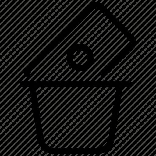 bin, capital, debt, money, risk analysis, trash, waste icon
