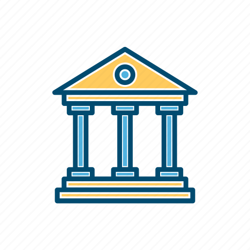 bank, building, business, court, line, thin icon