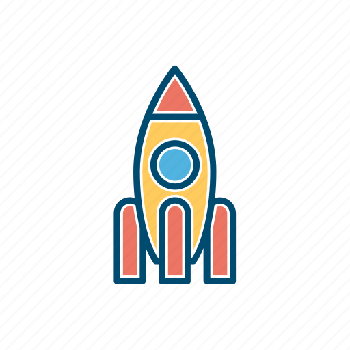 business, line, rocket, start up, thin icon