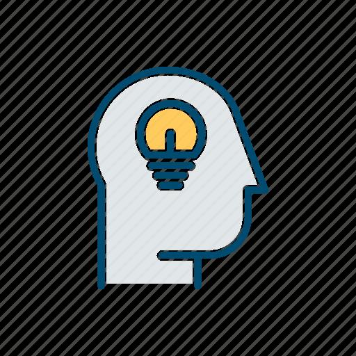 bulb, business, head, idea, line, thin icon