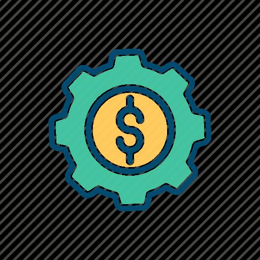 business, line, mechanism, money, thin icon