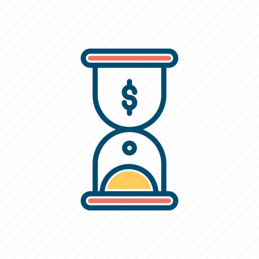 business, hourglass, line, thin, time icon