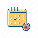 business, calendar, date, deadline, line, mark, thin icon