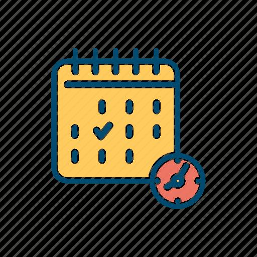 business, calendar, date, deadline, line, mark, thin icon
