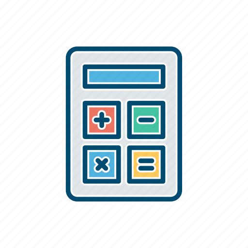 business, calculator, line, thin icon