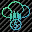 business, cloud, money, online, rainy icon