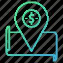 business, location, map, treasure icon