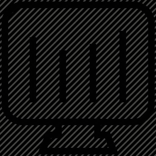 bar chart, diagram, monitor, screens, television, tv icon