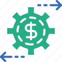 bank, business, financial, money, sell, settings icon