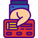 bank, business, card, credit, financial, give, money icon