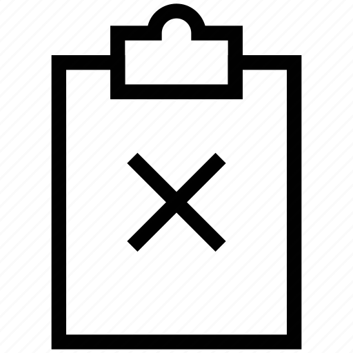 clipboard, cross, don'ts, paper, writing board, wrong icon
